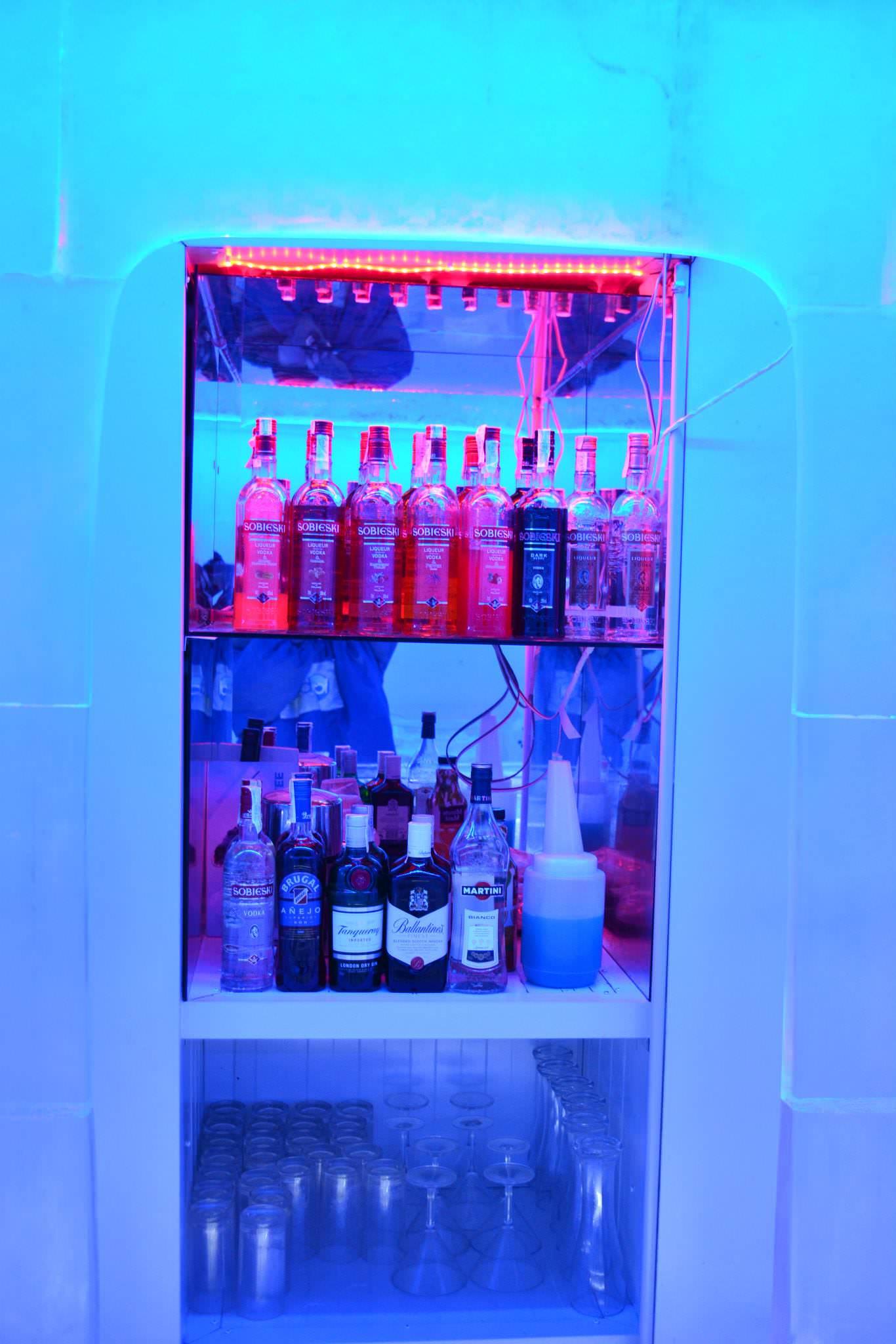Bebidas en la barra del Ice Bar