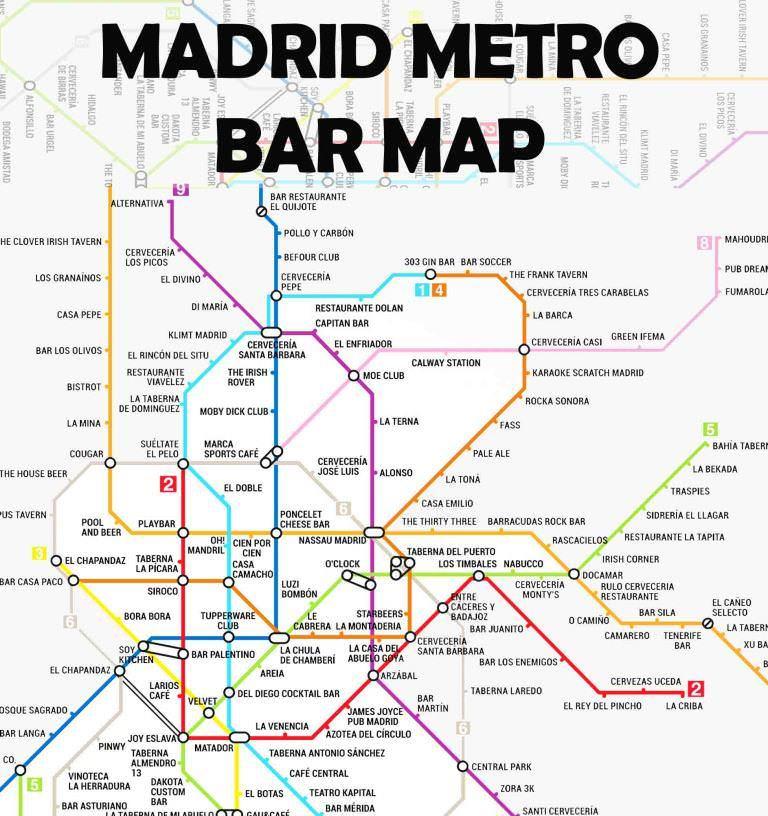 Mapa Del Metro Madrid.Mapa Metro De Bares Un Buen Dia En Madrid