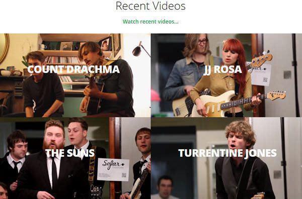 Vídeos artistas en la web de Sofar