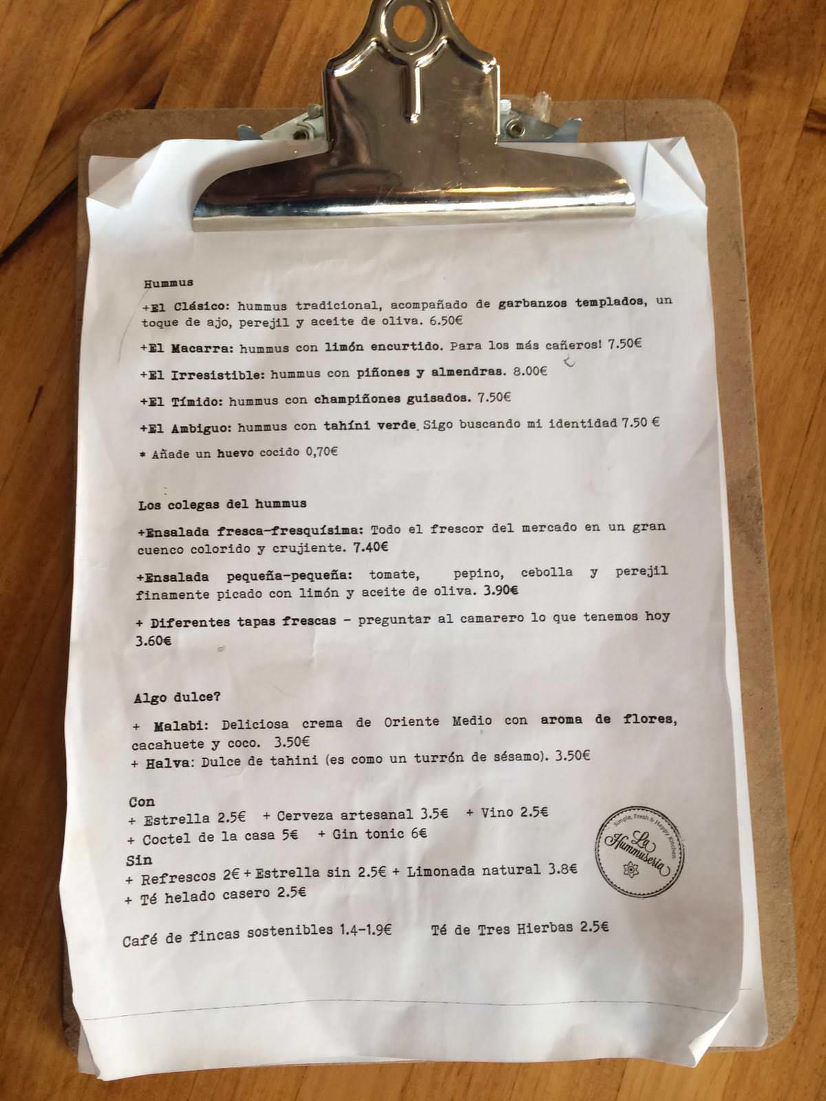 Carta del restaurante La Hummuseria