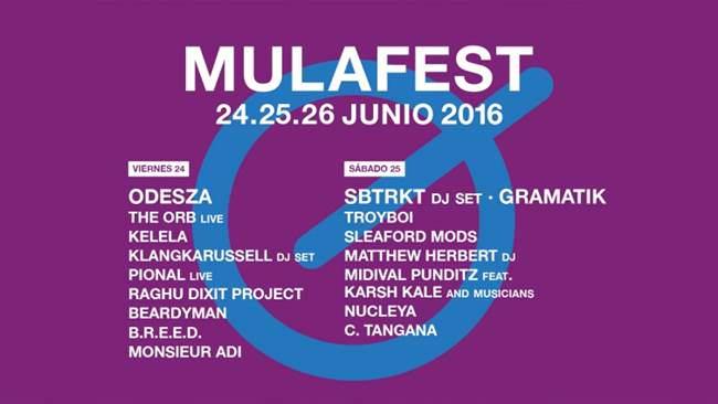 Cartel por días del festival Mulafest.