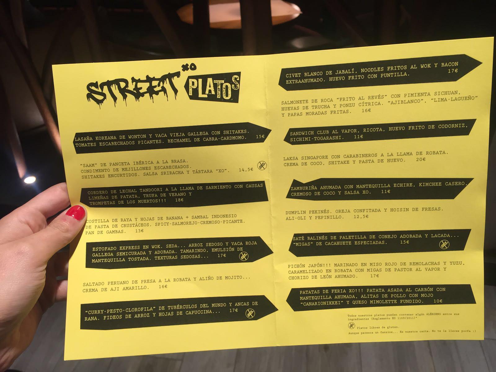 Carta Restaurante StreetXo