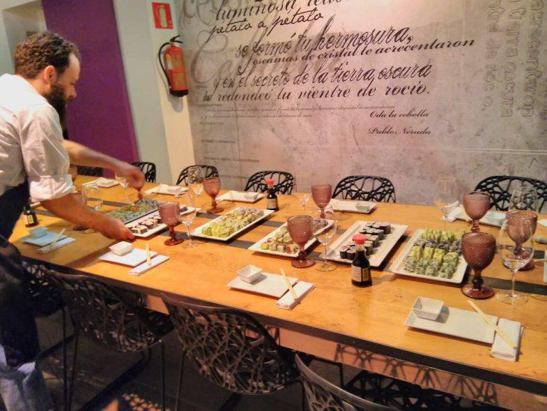 Degustación del sushi que habíamos preparado
