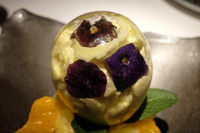 Bombón de mango en dos texturas A&G