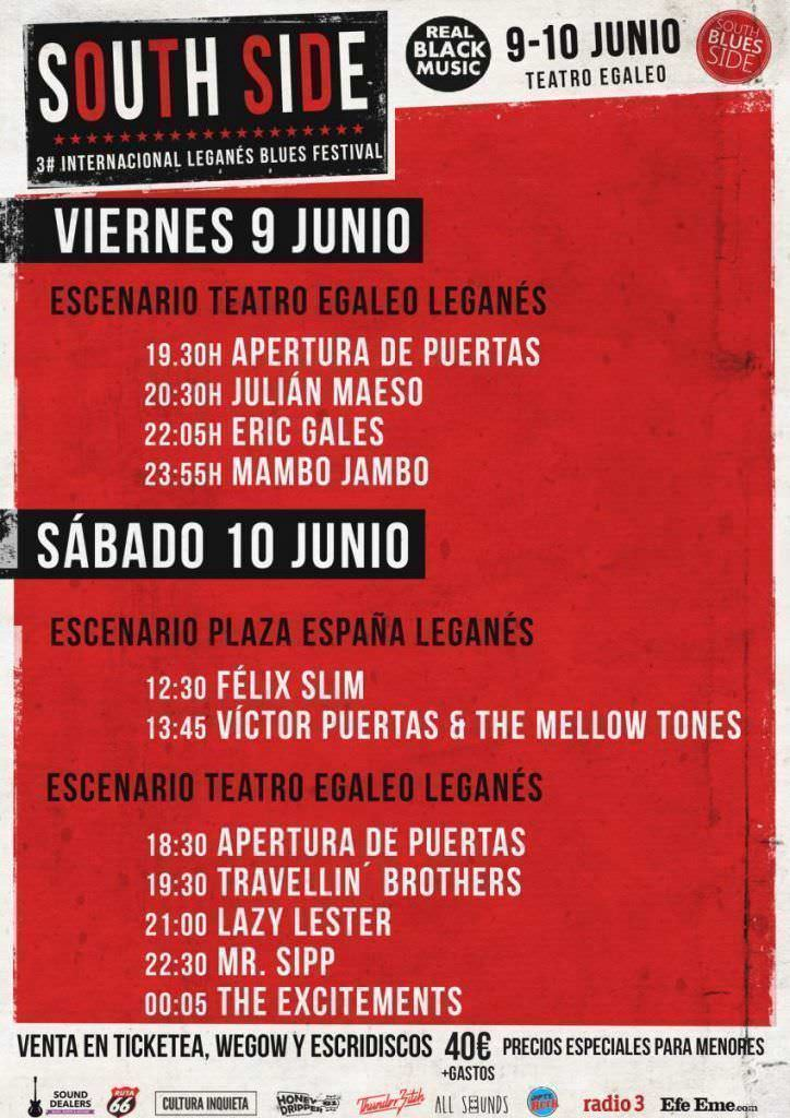 Cartel por días Festival blues South Side