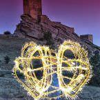 Lightpainting Torre de la alegría castillo de zafra