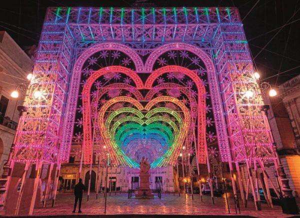 Puerta de luces de Torrejón en Navidad