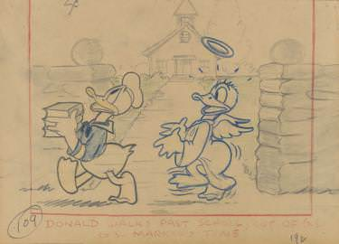 Lo mejor de Donald , 1938. Artista del estudio Disney. Esbozo. Lápiz de color y mina de grafito sobre papel © Disney Enterprises Inc.