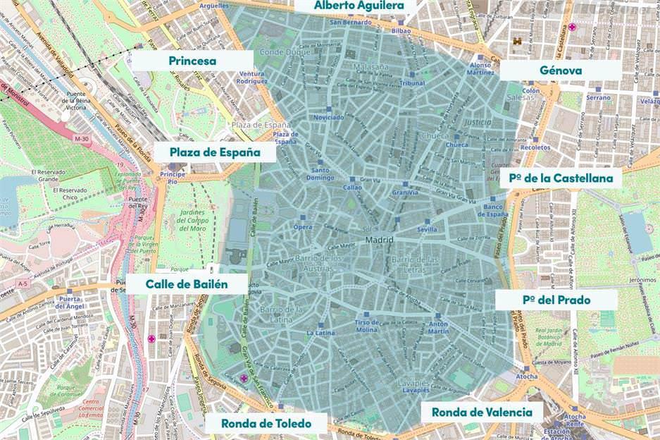 Zonas afectadas por Madrid Central