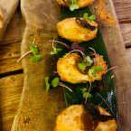 Croquetas de atún salvaje de almadraba con leche de coco y corazon de atun