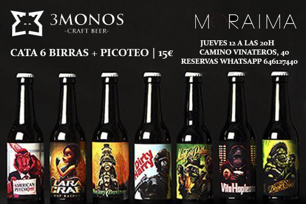 Cata de cervezas artesanas 3MONOS en MORAIMA Vinateros - Un buen día en Madrid